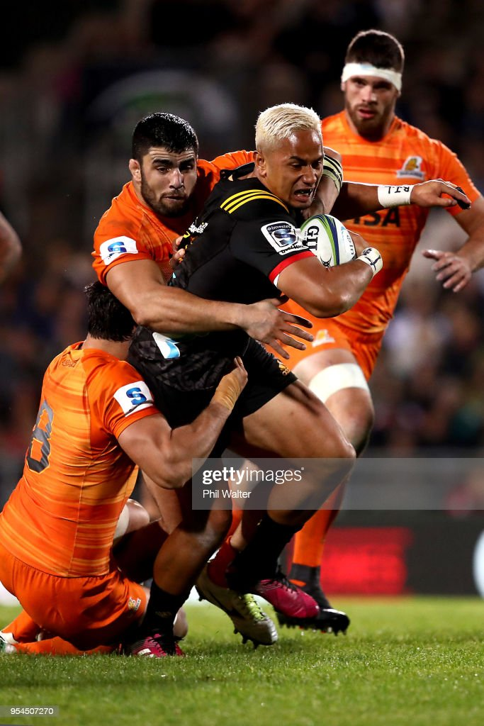 Toni Pulu of the Chiefs is tackled during the round 12 Super Rugby match between the Chiefs and the Jaguares at Rotorua International Stadium on May 4, 2018 in Rotorua, New Zealand.
