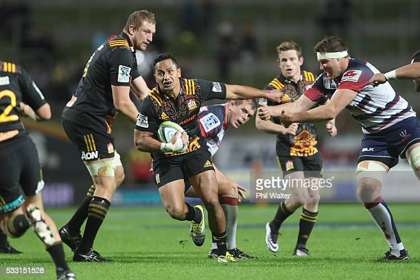 Toni Pulu of the Chiefs makes a break during the round 13 Super Rugby match between the Chiefs and the Rebels at FMG Stadium on May 21, 2016 in...