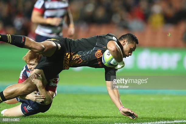 Toni Pulu of the Chiefs scores a try during the round 13 Super Rugby match between the Chiefs and the Rebels at FMG Stadium on May 21, 2016 in...