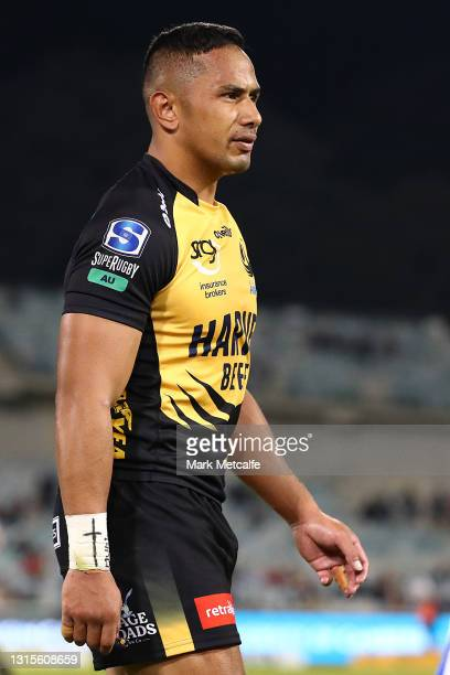 Toni Pulu of the Force is shown a red card for a tackle on Irae Simone of the Brumbies during the Super RugbyAU Semi Final match between the ACT...