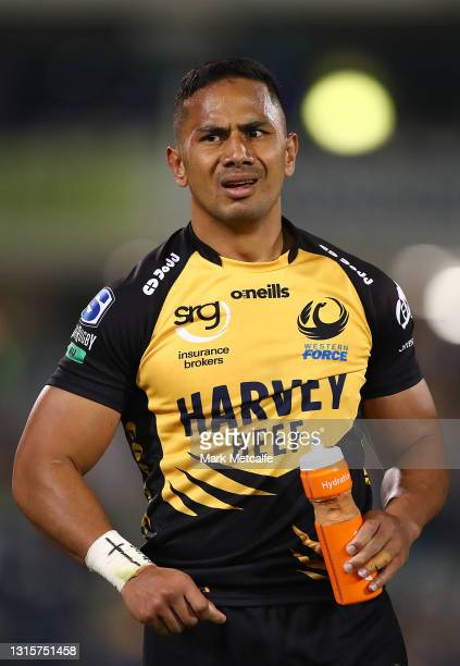 Toni Pulu of the Force looks on before being shown a red card for a tackle on Irae Simone of the Brumbies during the Super RugbyAU Semi Final match...