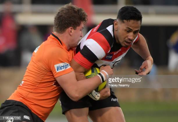 Toni Pulu of the Vikings is tackled during the Canberra Vikings v NSW Country round seven match at Viking Park on October 11, 2019 in Canberra,...