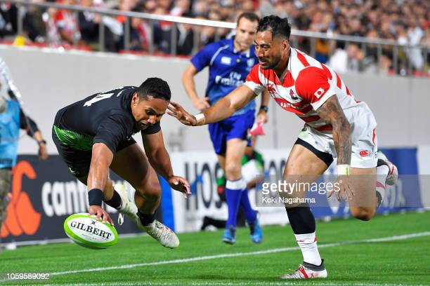 Toni Pulu of the World XV scores his side's second try during the rugby friendly between Japan and World XV at Hanazono Rugby Stadium on October 26,...