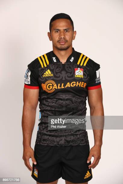 Toni Pulu poses during the Chiefs 2018 Super Rugby headshots session at Waikato Stadium on December 20, 2017 in Hamilton, New Zealand.