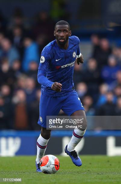 Toni Rudiger of Chelsea in action during the Premier League match between Chelsea FC and Everton FC at Stamford Bridge on March 08 2020 in London...
