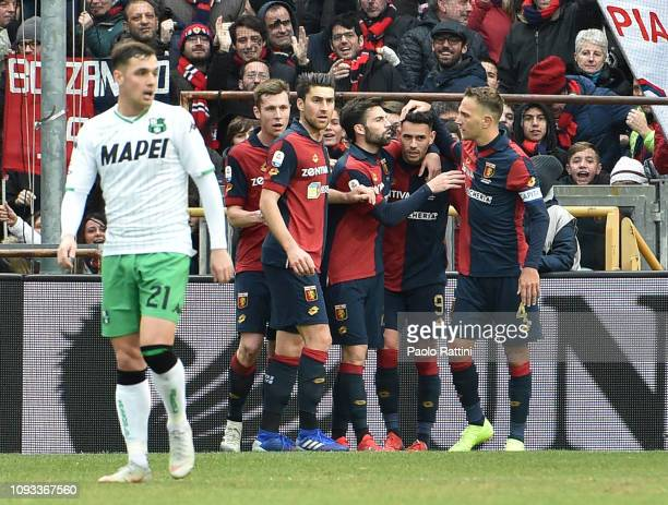 Toni Sanabria of Genoa CFC celebrates with team mates after scoring goal 11 during the Serie A match between Genoa CFC and US Sassuolo at Stadio...