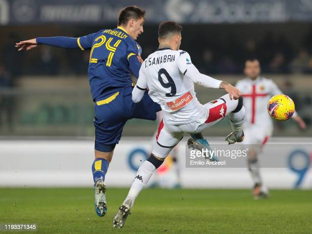 Toni Sanabria of Genoa CFC competes for the ball with Marash Kumbulla of Hellas Verona during the Serie A match between Hellas Verona and Genoa CFC...