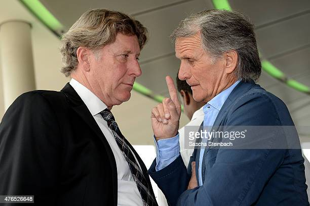 Toni Schumacher and Wolfgang Overath attend the official reception for the United States Soccer Federation at KoelnSky Lounge on June 10 2015 in...