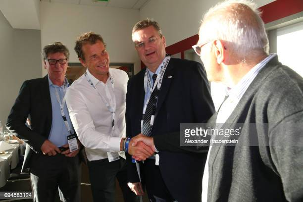 Toni Schumacher Jens Lehmann DFB President Reinhard Grindel and Georg Volkert talk prior to the FIFA 2018 World Cup Qualifier between Germany and San...