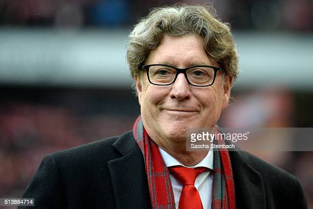Toni Schumacher vicepresident of Koeln looks on prior to the Bundesliga match between 1 FC Koeln and FC Schalke 04 at RheinEnergieStadion on March 5...