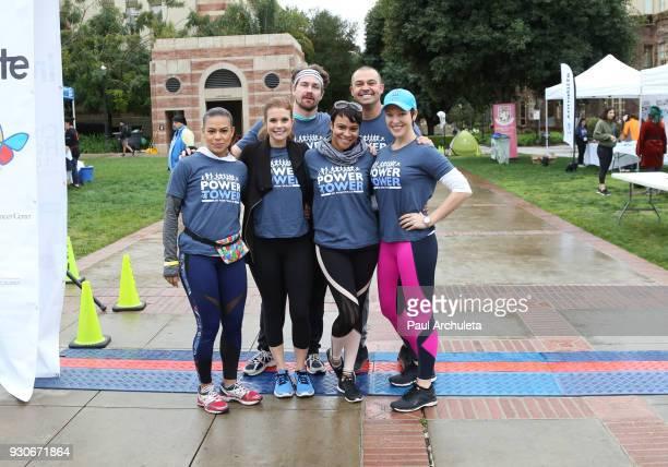 Toni Trucks JoAnna Garcia Swisher Josh Kelly Carly Hughes Nick Swisher and Erin Cummings attend the Power Of Tower run/walk at UCLA on March 11 2018...