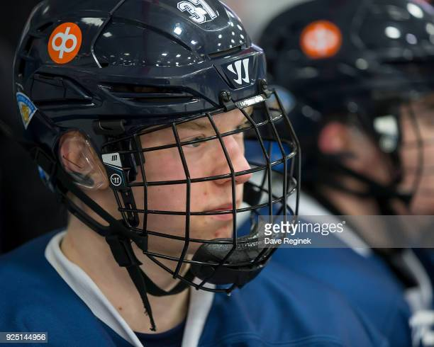 Toni Utunen of the Finland Nationals watches the action from the bench against the Russian Nationals during the 2018 Under18 Five Nations Tournament...