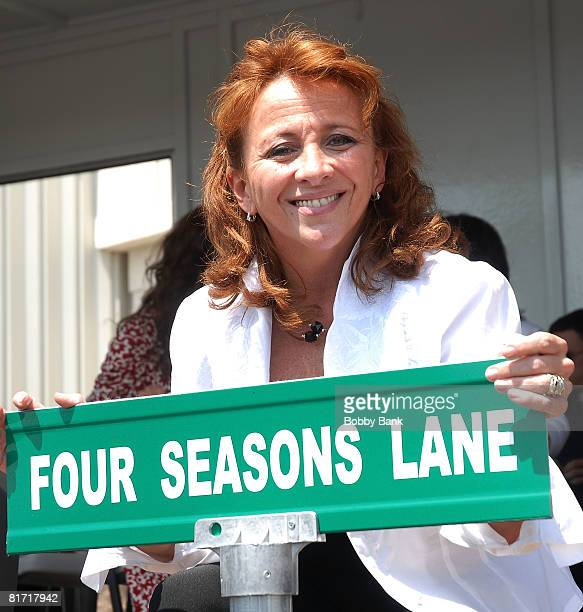 Toni Valli daughter of Frankie Valli of the Four Seasons attends the Street Naming Ceremony of Four Seasons Lane at Costco on June 25 2008 in Union...