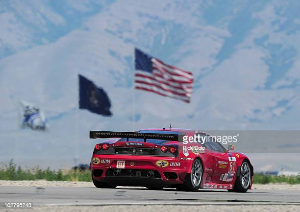 Toni Vilander of Finland drives the Risi Competizione Ferrari 430 GT during qualifying for the American Le Mans Series Larry H Miller Dealerships...