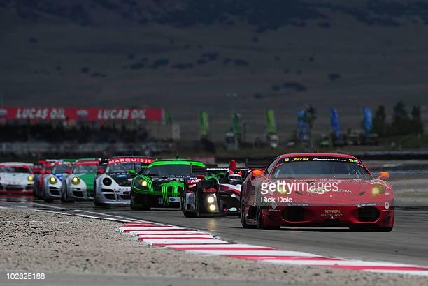 Toni Vilander of Finland drives the Risi Competizione Ferrari 430 GT during the American Le Mans Series Larry H Miller Dealerships Utah Grand Prix at...