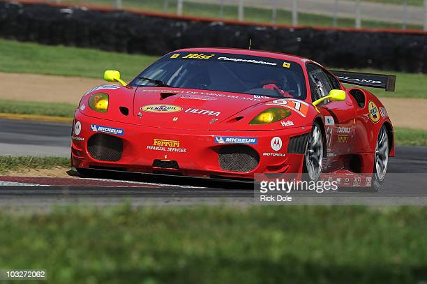 Toni Vilander of Finland drives the Risi Competizione Ferrari 430 GT during practrice for the American Le Mans Series MidOhio Sports Car Challenge at...