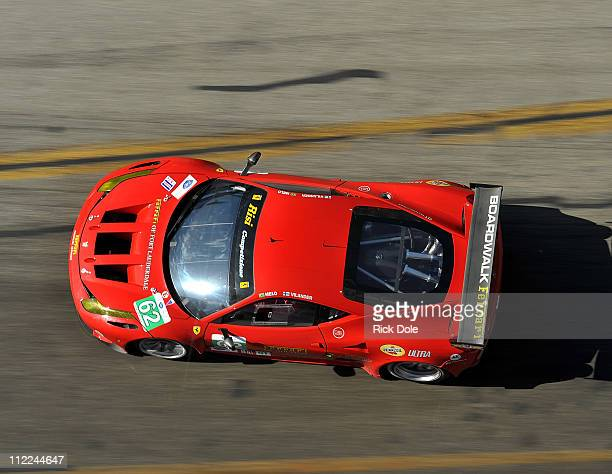 Toni Vilander of Finland drives the Risi Competizione Ferrari 458 during practice for the Tequlia Patron American Le Mans Series at Long Beach on...