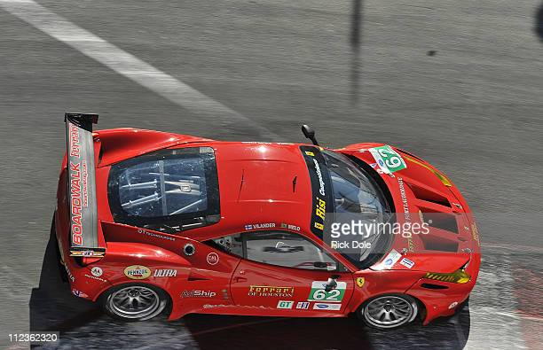 Toni Vilander of Finland drives the Risi Competizione Ferrari 458 during the Tequlia Patron American Le Mans Series at Long Beach on April 16 2011 in...