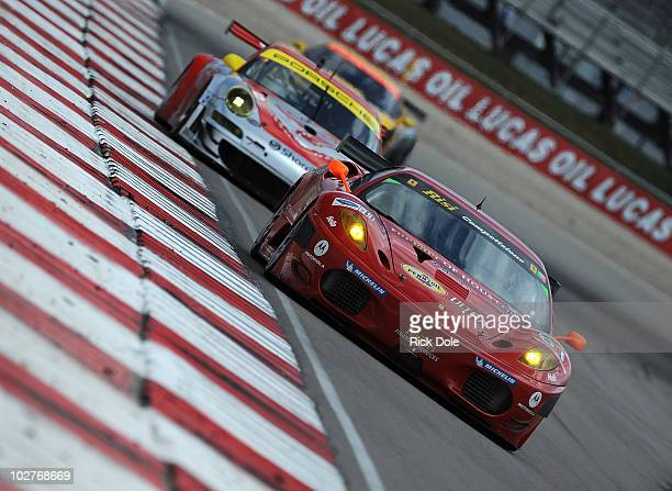 Toni Vilander of Finland drives the Risi Competizione Ferrari during practice for the American Le Mans Series Larry H Miller Dealerships Utah Grand...