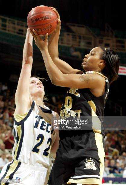 Tonia Brown has her shot blocked by Megan Isom during the second half of 9th seed Wake Forest's 61-59 victory over 8th seed Georgia Tech in the 2004...