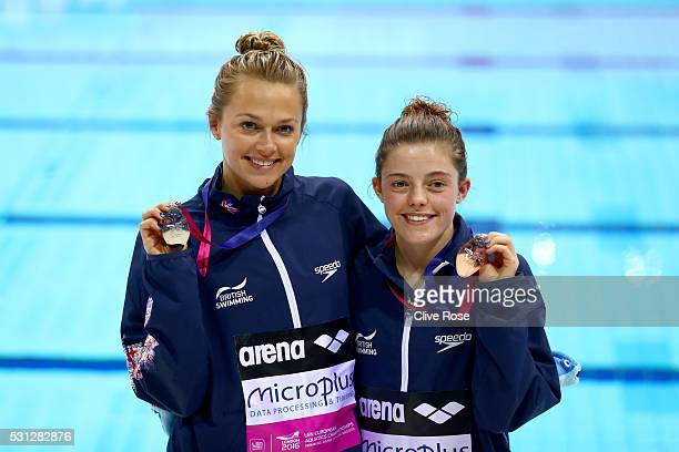 Tonia Couch and Georgia Ward of Great Britain pose with their medals after the Women's 10m Platform Final on day five of the 33rd LEN European...