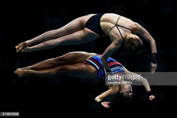 Tonia Couch and Lois Toulson of Great Britain compete during the Women's Diving 10M Synchro Platform final on day three of the Budapest 2017 FINA...
