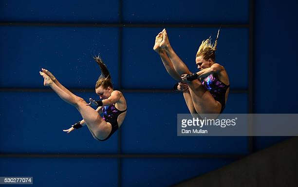 Tonia Couch and Lois Toulson of Great Britain compete in the Womens Diving Synchronised Platform Final on Day Two of the LEN European Swimming...