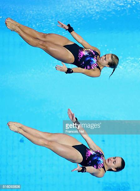 Tonia Couch and Lois Toulson of Great Britain dives in the Women's 10m Synchro Platform Final during day one of the FINA/NVC Diving World Series 2016...