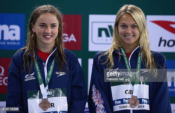 Tonia Couch and Lois Toulson of Great Britain pose with their bronze medals after the Women's 10m Synchro Platform Final during day one of the...