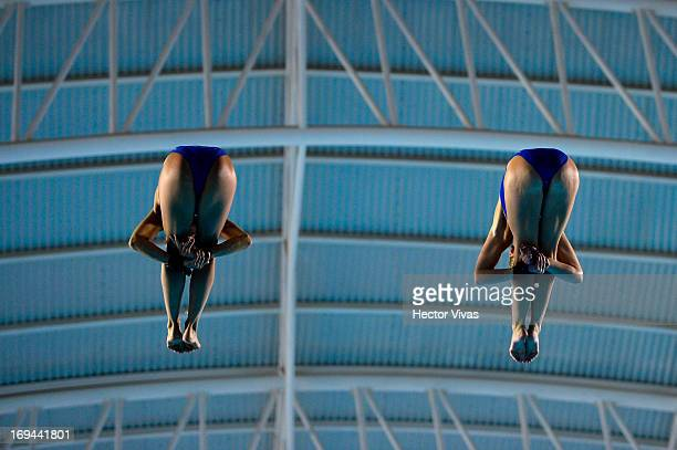 Tonia Couch and Sarah Barrow from Great Britain during the Women's 10 meters Platform Synchronized Finals of the FINA MIDEA Diving World Series 2013...