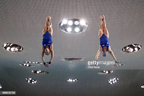 Tonia Couch and Sarah Barrow of Great Britain practice prior to the Women's 10m Synchro Platform Final during day one of the FINA/NVC Diving World...