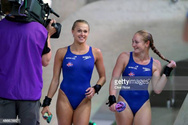 Tonia Couch and Sarah Barrow of Great Britain react after finishing second in the Women's 10m Synchro Platform Final during day one of the FINA/NVC...