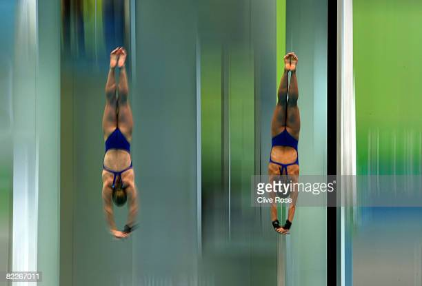 Tonia Couch of Great Britain and Stacie Powell of Great Britain competes in the Women's Synchronised 10m Platform Final held at the National Aquatics...