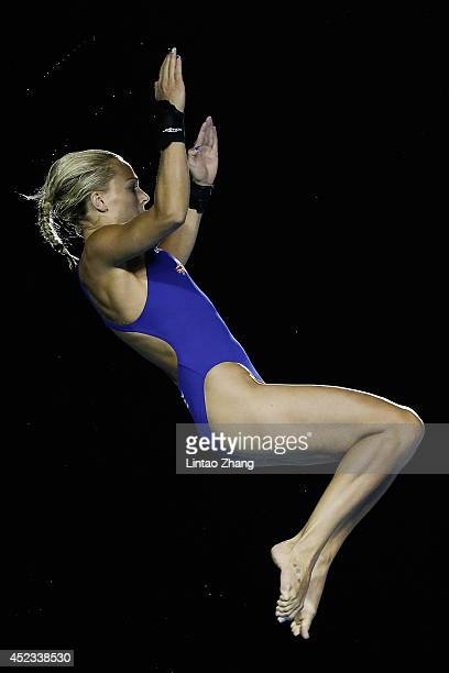 Tonia Couch of Great Britain compete in the Women's Platform Final during day four of the 19th FINA Diving World Cup at the Oriental Sports Center on...