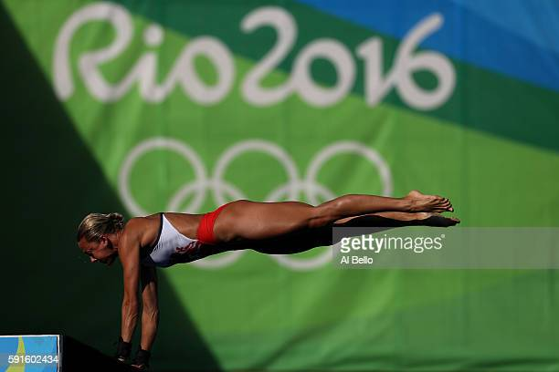 Tonia Couch of Great Britain competes during the Women's 10m Platform Diving preliminaries on Day 12 of the Rio 2016 Olympic Games at Maria Lenk...