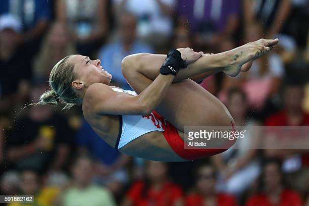 Tonia Couch of Great Britain competes during the Women's 10m Platform final diving at the Maria Lenk Aquatics Centre on day 13 of the 2016 Rio...