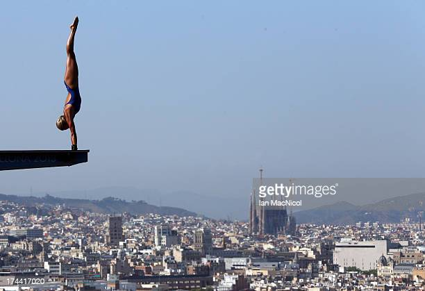 Tonia Couch of Great Britain competes in the final of The Women's 10m Platform at The Piscina Municipal De Montjuic on day six of the 15th FINA World...