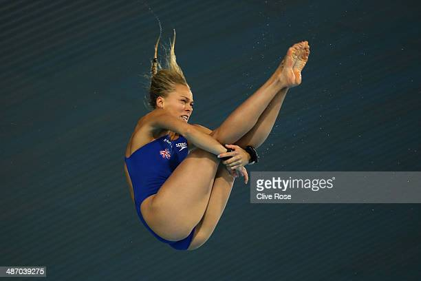 Tonia Couch of Great Britain competes in the Women's 10m Platform semi finals on day three of the FINA/NVC Diving World Series at the London Aquatics...