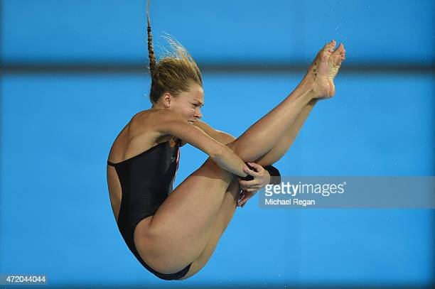 Tonia Couch of Great Britain competes in the Women's 10m semifinal during day 3 of the FINA/NVC Diving World Series at Aquatics Centre on May 3 2015...