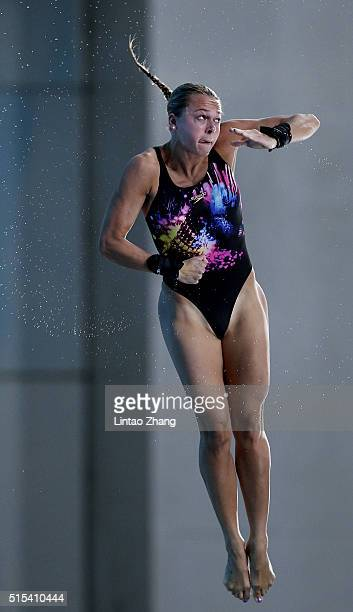 Tonia Couch of Great Britain competes in the Women's 10m Synchro Final during day three of the FINA/NVC Diving World Series 2016 Beijing Station at...