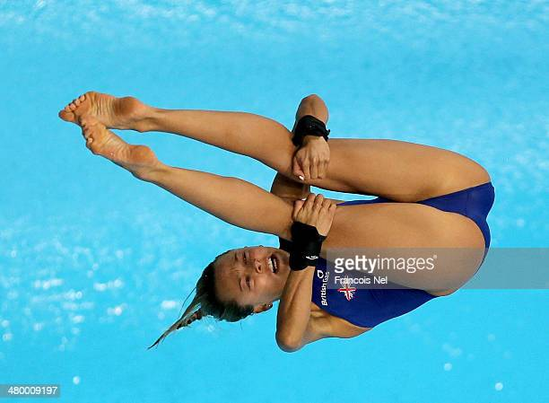 Tonia Couch of Great Britain dives in the Women's 10m Platform semi final during day three of the FINA/NVC Diving World Series 2014 at the Hamdan...