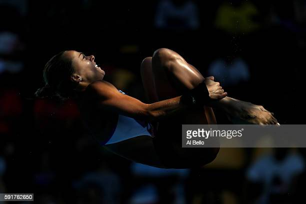 Tonia Couch of Great Britain during the Women's 10m Platform semi final diving at the Maria Lenk Aquatics Centre on day 13 of the 2016 Rio Olympic...
