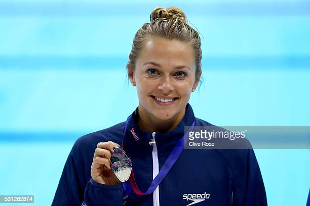 Tonia Couch of Great Britain poses with her medal after the Women's 10m Platform Final on day five of the 33rd LEN European Swimming Championships...