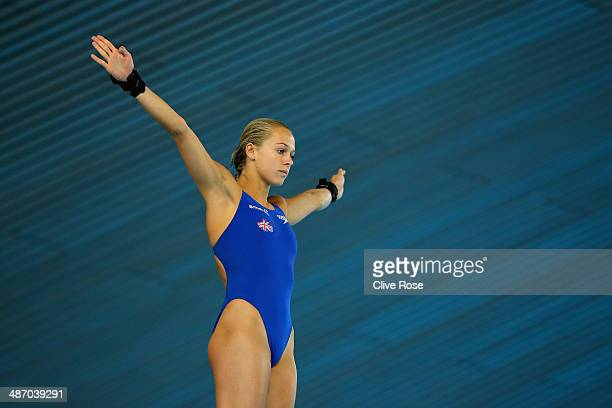Tonia Couch of Great Britain prepares to dive during the Women's 10m Platform semi finals on day three of the FINA/NVC Diving World Series at the...