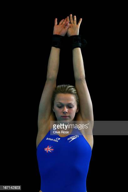 Tonia Couch of Great Britain prepares to dive during training on day three of the FINA/Midea Diving World Series 2013 at the Royal Commonwealth Pool...