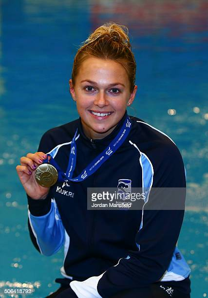 Tonia Couch of Plymouth Diving poses with her gold medal after winning the Women's Platform during Day Two of the National Diving Cup on January 23...