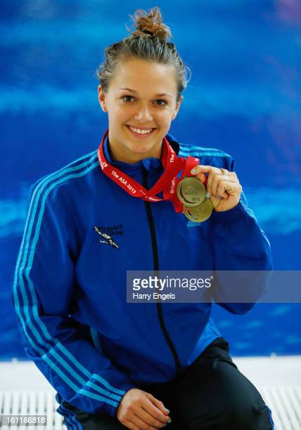 Tonia Couch poses with her Gold medal after winning the Women's 10m final on day two of the British Gas Diving Championships on February 9 2013 in...