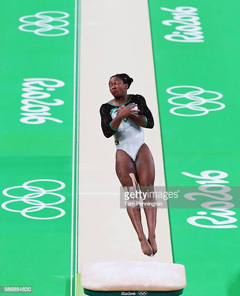 ToniAnn Williams of Jamaica competes on the vault during Women's qualification for Artistic Gymnastics on Day 2 of the Rio 2016 Olympic Games at the...