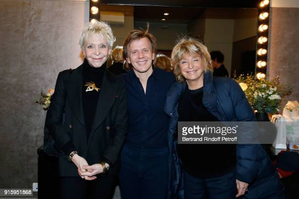 Tonie Marshall Alex Lutz and Daniele Thompson pose after the Alex Lutz One Man Show At L'Olympia on February 8 2018 in Paris France