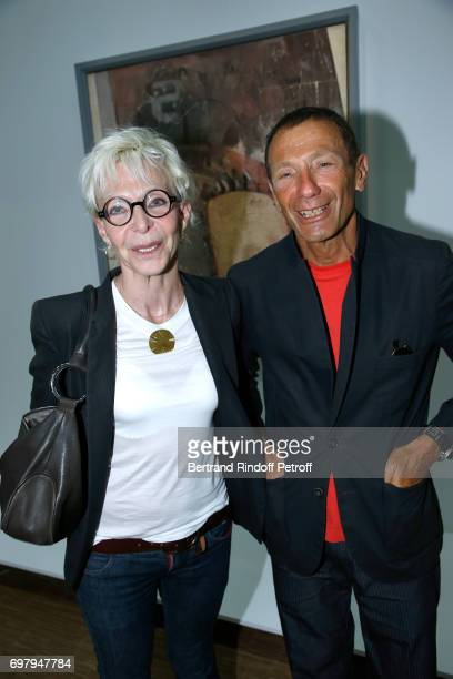 Tonie Marshall and guest attend the David Hockney Retrospective Exhibition at Centre Pompidou on June 19 2017 in Paris France